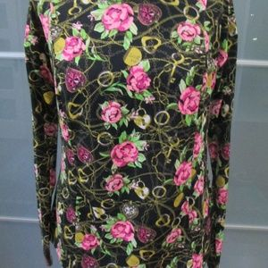 Locket & Rose Print Long Sleeve Blouse / Top Sz M